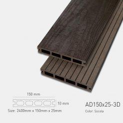 Sàn Gỗ Nhựa Ngoài Trời Awood AD150X25-3D SOCOLA